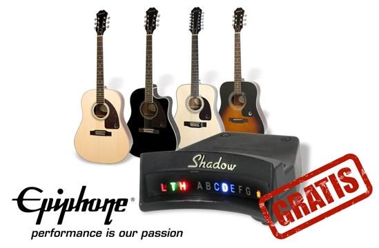 Acquista una Epiphone acustica e ricevi un accordatore Shadow in regalo